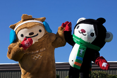 Mascots in red mitts