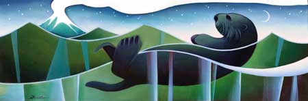 Sea Otter and Volcano